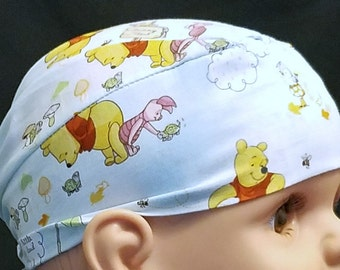 Winnie the Poo Chemo Cap or Skull Cap, Hair loss, Bandana, Hats, Head Wrap, Alopecia, Head Cover, Bald, Surgical Cap, Do Rag, Handmade