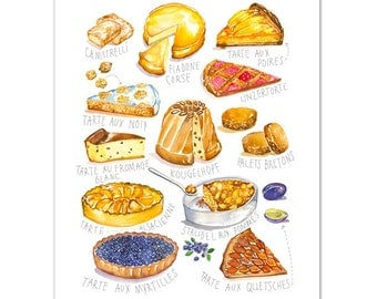 French bakery print No 1, Kitchen art, Cake print, 8X10 art print, Kitchen decor, Watercolor painting, Food illustration, Kitchen wall art