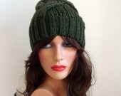 Women Green Hat - Handmade Knitted Hat - Original Look - Women Knitted Beanie - Winter Fashion - Cable knit