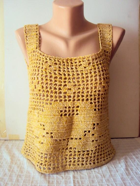 Crochet Lace Top Tank Shimmering Golden Rose Top Festival Top Beachwear Gypsy Top Crochet Halter Women Summer Tops