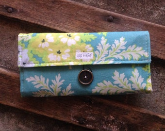 Vibrant Floral Fabric Women's Wallet, Turquoise and Yellow, Ready to Ship