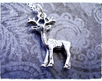 Silver Buck Necklace - Sterling Silver Buck Charm on a Delicate Sterling Silver Cable Chain or Charm Only