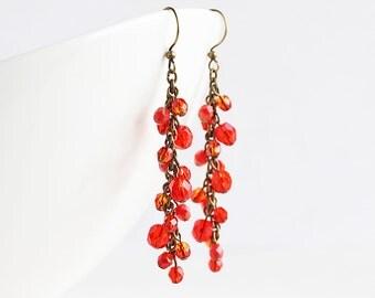 Long Rustic Orange Cluster Dangle Earrings on Antiqued Brass Hooks, Cascade Earrings, Autumn Jewelry