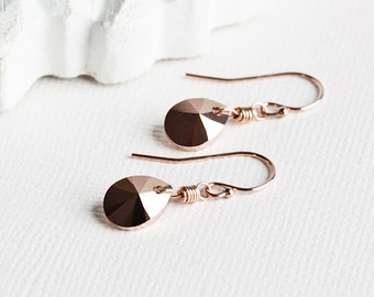 Small Rose Gold Crystal Teardrop Earrings on 14K Rose Gold Filled Hooks (made with Swarovski Elements)