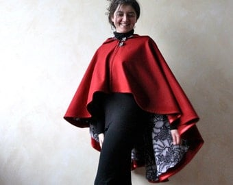 Red cape, hooded cape, wool cape, wool cloak, red poncho, women clothing, maternity clothes, shawl, gift idea for her, spring outerwear