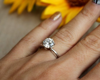 White gold solitaire engagement ring for proposal pop the question classic diamond moissanite solitaire 14K 6 prong setting