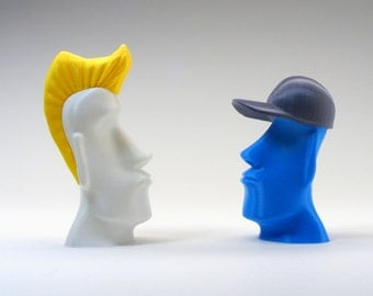 pop art easter island head moai designer toy with punk or jock accessory - 3d printed toy