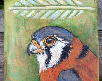 AMERICAN KESTREL Mixed Media Paintings  FALCON Art Original Art Totem Animals Bird Medicine Spirit Guides Wildlife Art Lotus and Nightshade