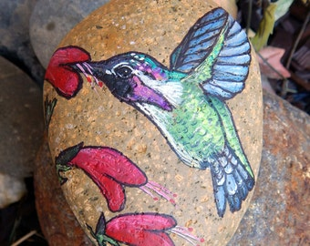 Ana's HUMMINGBIRD Hand Painted Rocks Hummingbird Painted Stones Hummer Rock Art Bird Lovers Gifts Hummingbirds Painting Spirit Animal Guides