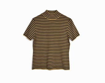 Vintage 90s Striped Knit Silk Tee in Black & Gold / Mock Neck Top  - women's small