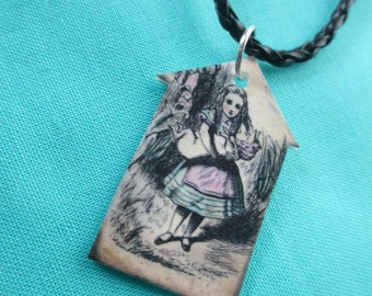 ALICE IN WONDERLAND Necklace Printed Plastic Charm Jewlery