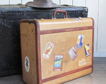 1920s-30s Tweed & Leather Hard-sided Suitcase with Travel Stickers