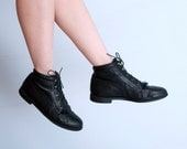 Black Combat Ankle Boots Lace Up Justin Leather Boots / Women's Size 9 1/2 9.5