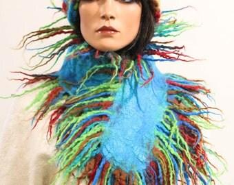 Felted scarf collar necklace multicolor blue green red felt dreads wool colorful scarf fringes wool autumn boho Regina Doseth handmade in EU