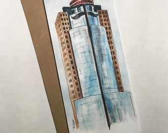 Cincinnati Greeting Card, Mr. Red Scripps Building, All Star Game, Watercolor Art