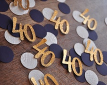 40th Birthday Decoration.  Ships in 2-5 Business Days. 40 Number Confetti 50CT. Woodgrain Plum and Glitter Gold Confetti.