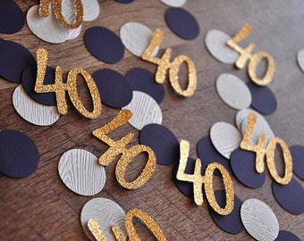 40th Birthday Decoration.  Handcrafted in 2-3 Business Days. 40 Number Confetti 50CT. Woodgrain Plum and Glitter Gold Confetti.