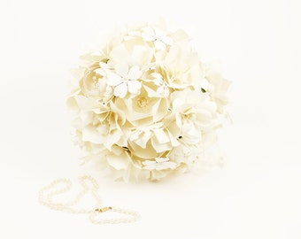Handmade Paper Flower Wedding Bouquet - ALL CREAM - Customize your Style and Colors - Made To Order
