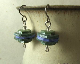 Blue and green rustic stack bead earrings, handmade polymer clay art beads on hypo-allergenic titanium ear wires