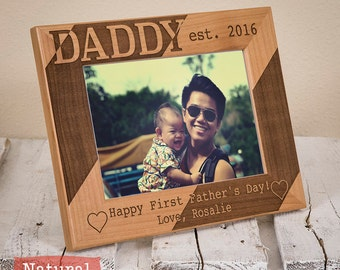Daddy Personalized Picture Frame - Happy First Fathers Day - Gift For Dad - Fathers Day Gift-First Father's Day