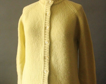 Vintage 60's Chartreuse Yellow Green Knit Button Up Cardigan Sweater by Miss Patt, size 38