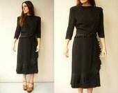 1940's Vintage Black Crepe Ruffle Tea Dress With Statement Shoulders Size Medium