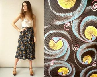 Vintage 1970's Novelty Bohemian Geometric Pattern Midi Skirt Size Small
