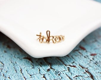 Taken Ring or Custom Name or Word in Sterling Silver or Yellow or Rose Gold Filled