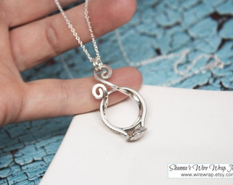 Magic Ring Holder Necklace, Wedding / Engagement Ring Holder Pendant, Argentium Sterling Silver