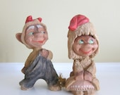 Vintage Pair of Carved Wooden Trolls, Henning Trolls, Norway
