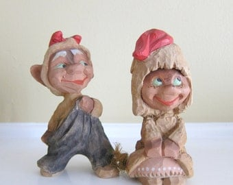 Vintage Pair of Carved Wooden Trolls, Henning Trolls, Norway