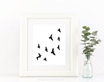 Birds Print - Birds Wall Art - Black Birds Art - Birds Decor - Modern Decor - Nursery Birds Art - Minimalist  Birds Art Print - Aldari Art