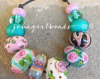 Bed of Roses Mixed Lampwork Beads