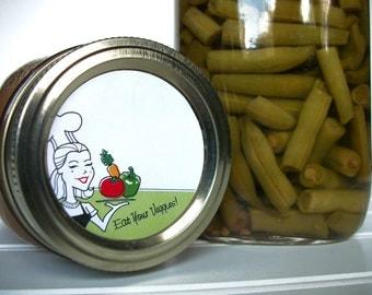 Eat Your Veggies canning jar labels, round retro vegetable mason jar labels, regular & wide mouth labels, vegetable preservation stickers
