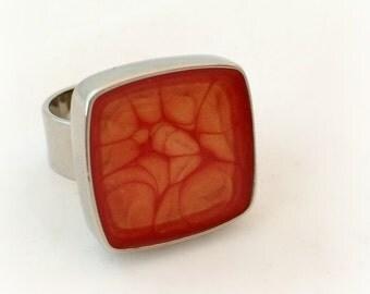 Orange honeycomb square ring, resin statement ring