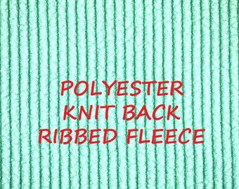 Seafoam Green, Wide Ribbed Fleece, Knit Back Craft or Fashion Fabric, Soft Fuzzy, Heavy Weight, Polyester, half yard, B29