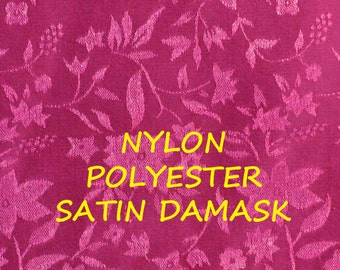 1 YARD, Cerise Pink, Satin Damask, Floral Fashion or Lining Fabric, Lightweight, Polyester Nylon, B36