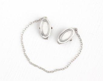 Sale - Antique Edwardian Sterling Silver Baby Bib Clip - Vintage Art Deco Cape Chain Napkin Sweater Guard Bib Holder Children's Baby Jewelry