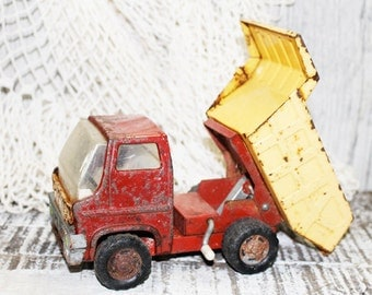 MARX Dump Truck, Yellow and Red Toy Truck, Pressed Steel, 1960's