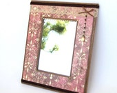 Small Mirror Decoupaged Vintage Victorian Style Mixed Media Wall Art Mirror Crystal Lace Embellished Rose Mauve Mothers Day Gift for Mom