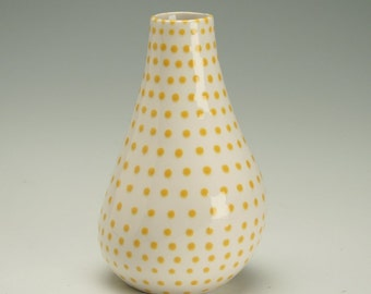 Small Vase Sunflower Yellow Hand Painted Spots Organic Shape Dijon Mustard