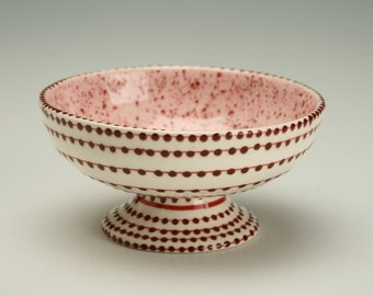 Footed Bowl with Pink and Deep Berry Sprinkle Glaze and Hand Painted Designs Burgandy Maroon Ice Cream Parfait Cup Dinnerware Dish