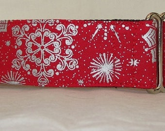 Silver Snowflake Martingale Dog Collar - 1.5 Inch - red snow holiday winter sparkling