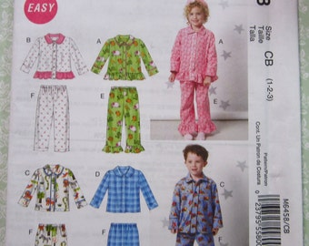 Easy to Sew Toddlers 2 Piece Pajamas: Tops and Pants Sizes 1 2 3 McCalls Pattern M6458 UNCUT