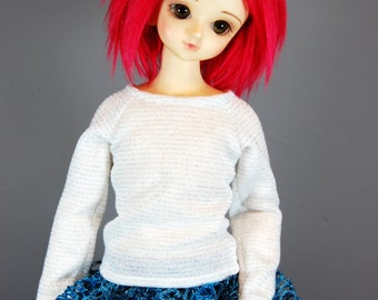 MSD Long Sleeve White and Silver Striped Sweater for Boy & Girl BJD