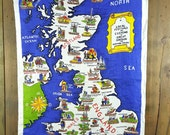 Vintage Linen Dish Towel, Local Festivals and Customs of Great Britain and Northern Ireland, Made in Ireland, Ulster, Pub Kitchen Tea Towel