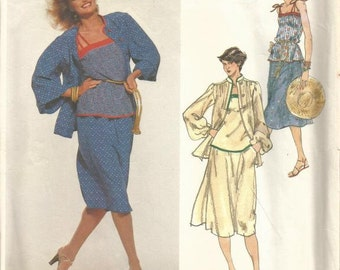 1970s Emanuel Ungaro Camisole Top Jacket Flared Skirt Vogue Paris Original Vogue 1695 Uncut FF Size 14 Bust 36 Womens Vintage Sewing Pattern