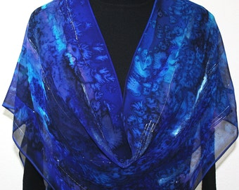 Hand Painted Chiffon Silk Shawl. Blue Turquoise Navy Hand Dyed Silk Scarf OCEAN DIVE, in Several SIZES. Birthday, Anniversary  Gift