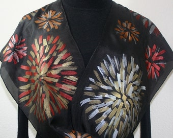Black, Gold Hand Painted Silk Scarf. Silver, Bronze Handmade Silk Scarf FLOWER FIREWORKS Size 11x60. Christmas Gift. Silk Scarves Colorado.