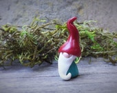 "Fairy Garden Gnome Miniature Terrarium Figurine Polymer Clay Tiny 1 1/4"" Tall Aqua Red"